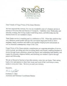 Letter: Sunrise Independent & Assisted Living of Severna Park, Recommendation for Finger Prints of His Grace